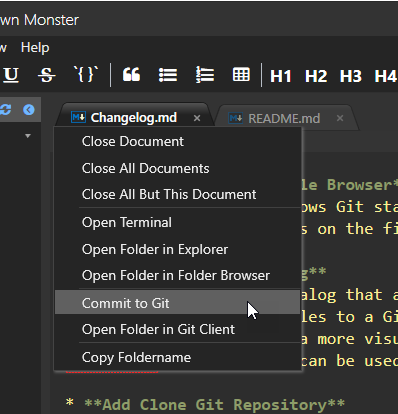 File and Folder Navigation via Tab Menu - Markdown Monster Documentation